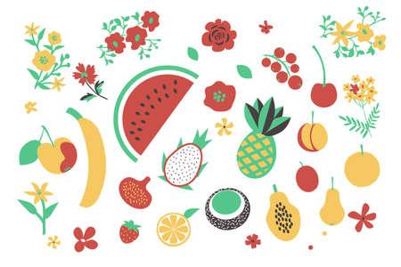 Fruits and flowers vectorset