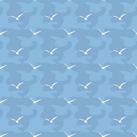 Seamless seagulls and water pattern Ilustração