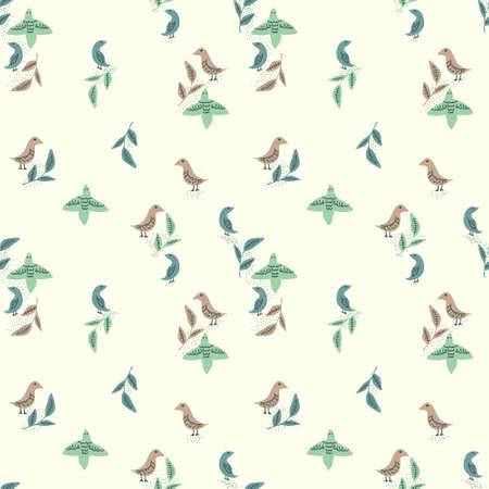 Seamless decorative vector birds pattern