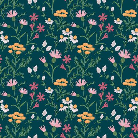 Seamless summer meadow decorative pattern Ilustração