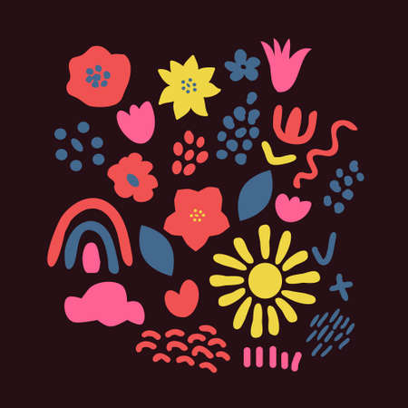 Contemporary vector flowers and other elements