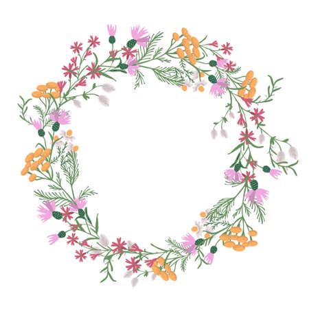 Vector decorative wreath with wild flowers