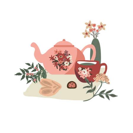 Cosy tea party vector illustration