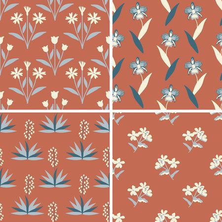 Decorative vector floral patterns set 向量圖像