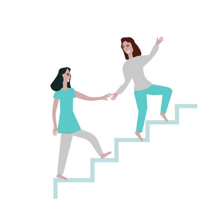 Two women and stairs, personal growth, coaching, concept,