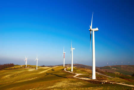 molise: Row of modern and ecologic generators on top of a hill