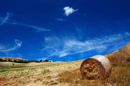 Golden dry field with interesting blue sky and hay bale photo