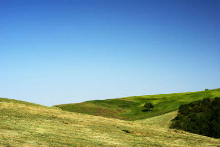 amazing stunning: Summertime fields with hay and blue sky