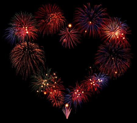 anniversario di matrimonio: Cuore di fuoco d'artificio di forma composizione