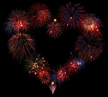 Heart shape firework composition Stock Photo