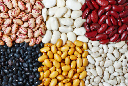 Mixture of six diferent type of colorful beans photo