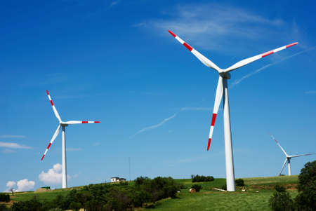 Wind turbines with blue sky in summertime