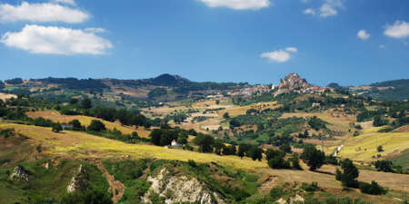 Rural landscape of region Molise in center Italy, the little villages are Ripalimosani and S.Angelo Limosano