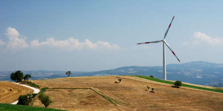 molise: Rural landscape in Molise (center Italy) with solitary wind turbine Stock Photo