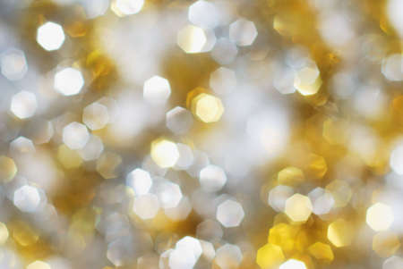 Silver and gold christmas lights background Stock Photo