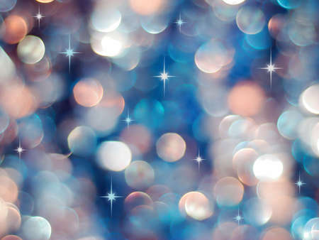 Christmas blue and red lights background with little stars Stock Photo