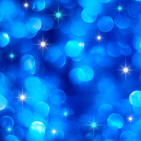 Christmas deep blue lights background with little stars