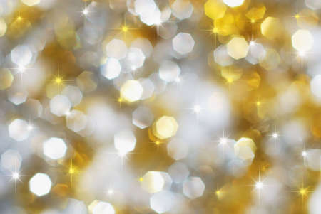 Christmas silver and gold lights and stars Stock Photo