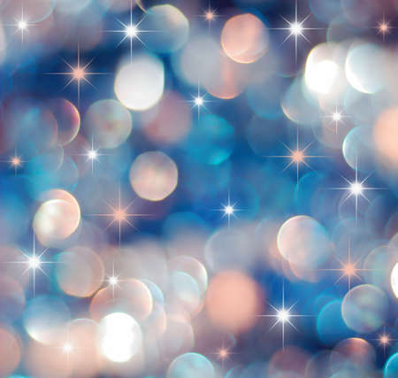 Christmas red and blue lights background with little stars Stock Photo - 5415433
