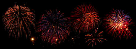 Composition of fireworks over black background Stock Photo - 5415436