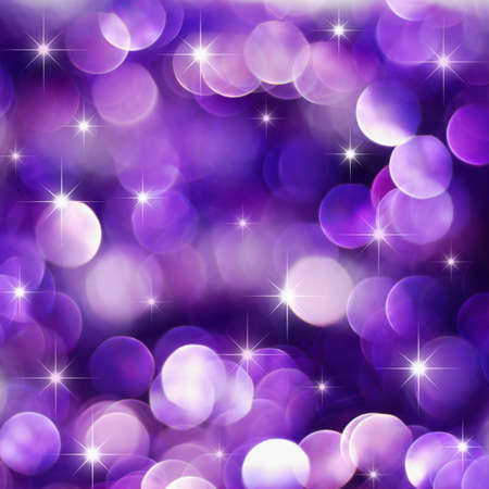 purple stars: Christmas deep purple lights background with little stars
