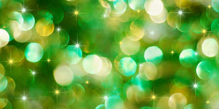 Christmas green and golden lights background with little stars