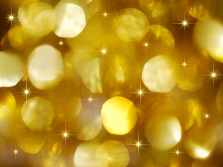 Golden Christmas lights background with golden stars Stock Photo - 5683615