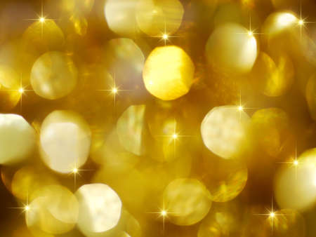 Golden Christmas lights background with golden stars photo