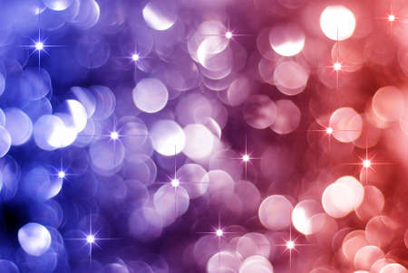 Glowing Red and blue Christmas lights background with little stars
