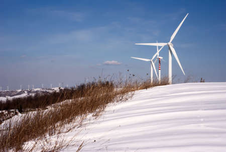 Dry grass and wind turbines on snowy hills Stock Photo - 6169728