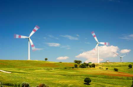 cultivated: Wind turbines over cultivated fields