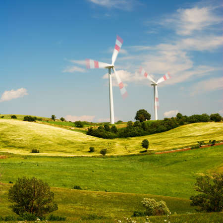 molise: Rural summer landscape with two wind turbines on the hill (in Molise, center Italy)