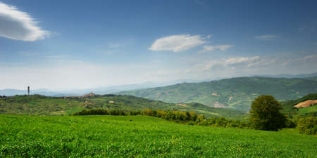 molise: Late spring landscape with far away village in region Molise (center Italy)