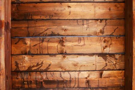 Dark stained wood beam ceiling photo