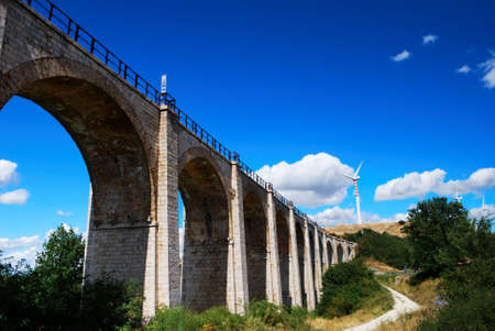 molise: Lateral view of old brick railway bridge in Molise