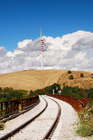 molise: Rural landscape from Molise with railroad and wind turbines
