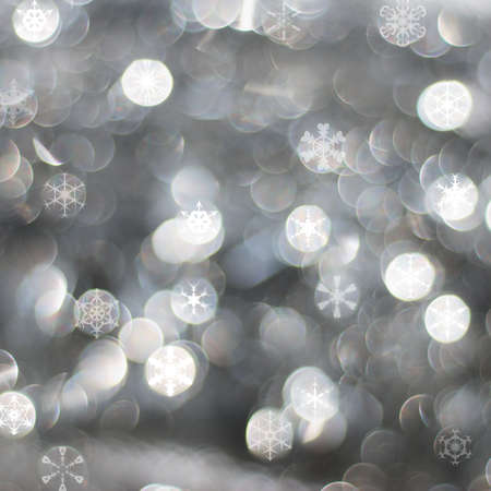 Abstract frosty silver night background with snow flakes photo