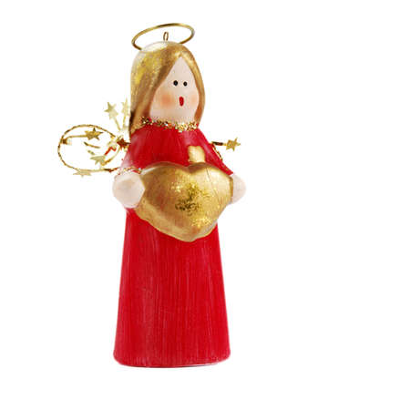 Red and golden Christmas angel isolated over white background photo