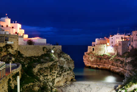 apulia: Night view of little village  Stock Photo