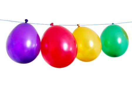 Fou rcolorful balloons in a line on white background