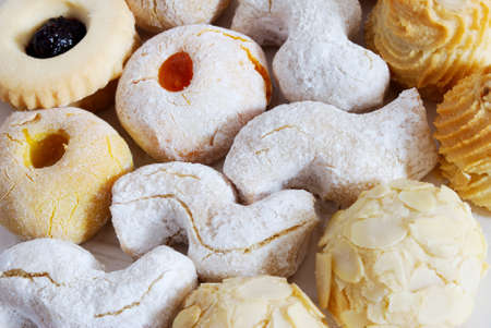 Group of almond biscuits sprinkled with shugar Stock Photo