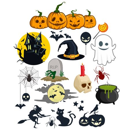 Halloween bundles cartoon in vector