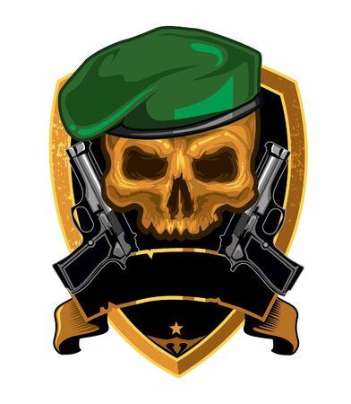 Skull army handgun logo cartoon vector