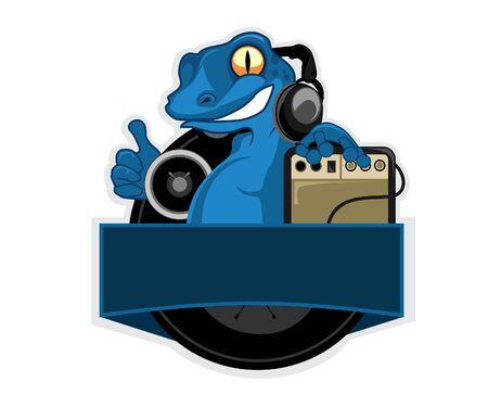 Blue lizard cartoon in vector illustration