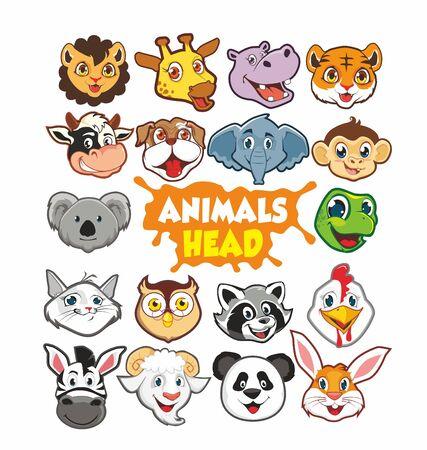 Animal head cute cartoon in vector
