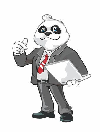 Panda officer mascot cartoon in vector