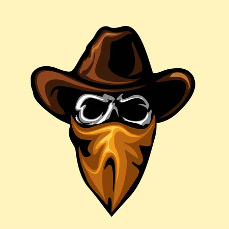 Skull bandit head in vector