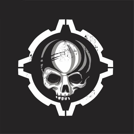 Skull tactical icon in vector