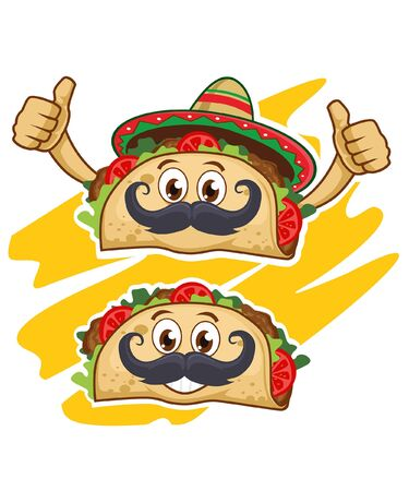 Tacos cartoon mascot in vector