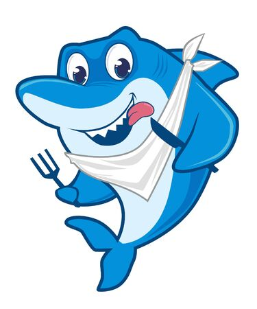 Shark blue cartoon in vector